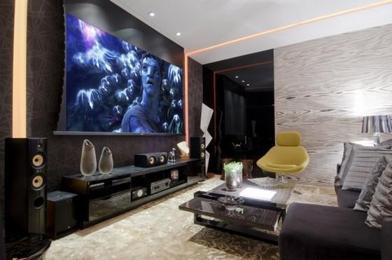 Sala de Tv Iluminação Planejada Cosmópolis - Sala de Tv Painel Planejado